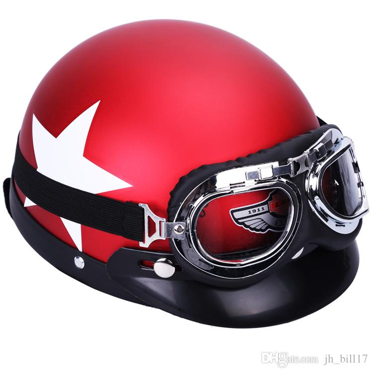 Motorcycle Helmet Goggles 54-59cm Protective Safety Motocross Helmets with Cycling Glasses Motorbike half Helmet Open Face Helmet ABS