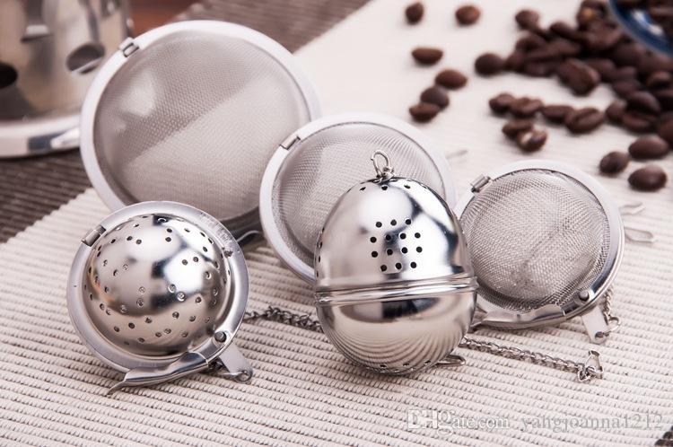 Großhandel L Größe Edelstahl Teesieb Mit Kette Durchmesser 6,5 cm Reise Tee Bälle Heißer topf Gewürzbeutel Tee Becher Verwenden Kostenloser Versand