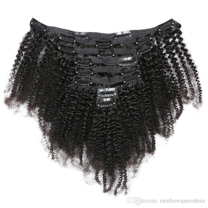 Mongolian Virgin Hair African American afro kinky curly 8pcs per set clip in human hair extensions natural black clips in hair