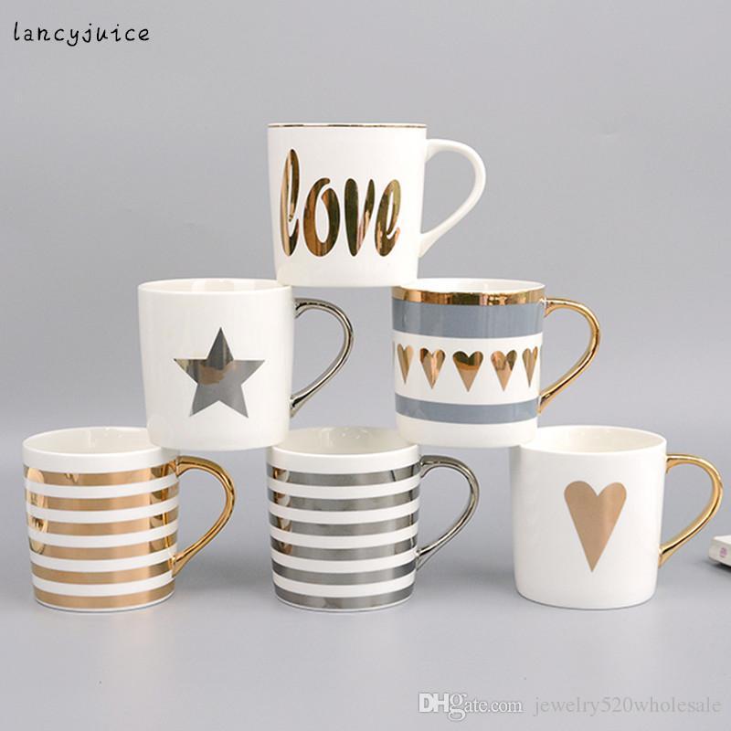 Satın Al Altın Boyama Porselen Su Kupa Seramik Kahve Fincanları Ve