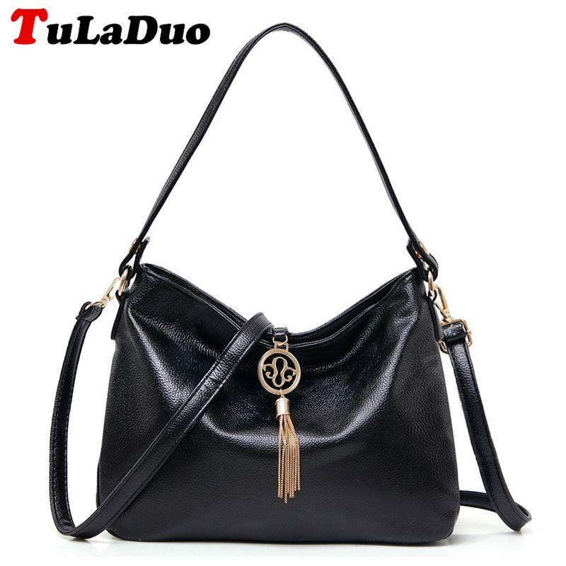 f95ab4c88 Fashion Tassel Female Tote Bag Top-Handle Soft Hobo Bag Leather ...