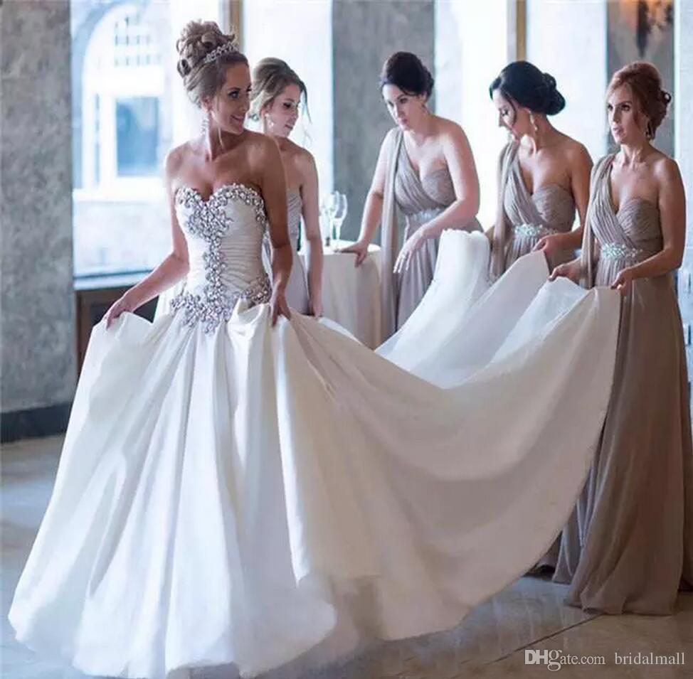 Graceful Spring Summer Crystals Perlen Satin Brautkleider Sweetheart Rüschen Lace Up Zurück A Line Brautkleider Hochzeit Vestidos de novia