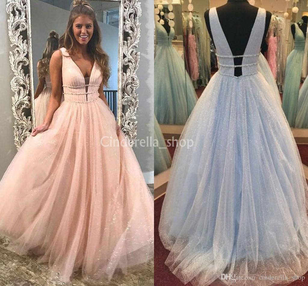 5eec2b8244 Sparkly Blush Pink Prom Dresses 2019 V Neck Beaded Backless A Line Long  Evening Party Special Occasion Gowns Vestidos De Fiesta Cheap Prom Dresses  2011 Prom ...