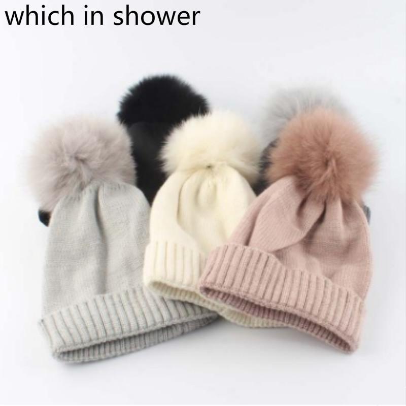 b28f1ed137a 2019 Child Real Fox Fur Pompom Hat Girl Solid Rabbit. Fur Winter Skullies Beanie  For Kids Boy Thick Warm Pom Pom Knitted Hat Cap From Cbaoyu
