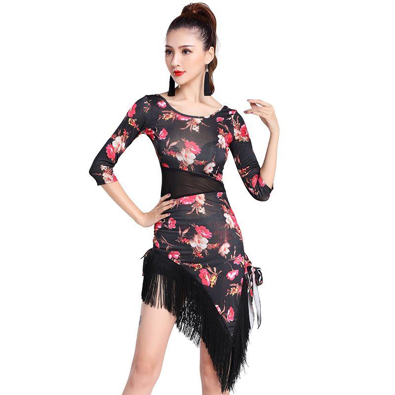 a61bd9c6354e 2019 Latin Dance Dress Floral Tassel Latin Dance Costumes For Women Samba  Carnival Costumes Salsa Dresses Costume DD146 C From Hoeasy, $47.64    DHgate.Com