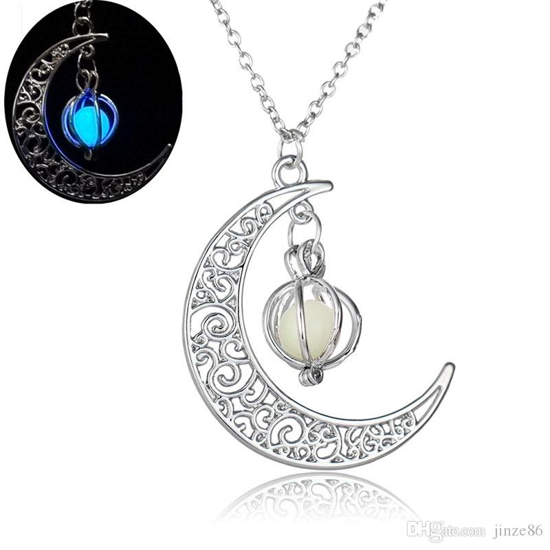 Glowing In The Dark Pendant Necklaces Silver Color Chain Necklaces Hollow Moon & Cage Design Choker Necklace Crescent Pendants Collares Jewe