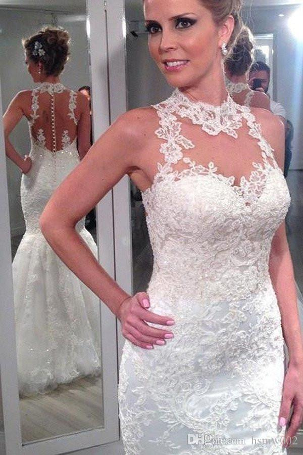 Gorgeous Lace Appliques Mermaid Wedding Dresses 2018 Sexy See Through High Neckline Custom Wedding Gowns Custom Made Wedding Bridal Dresses