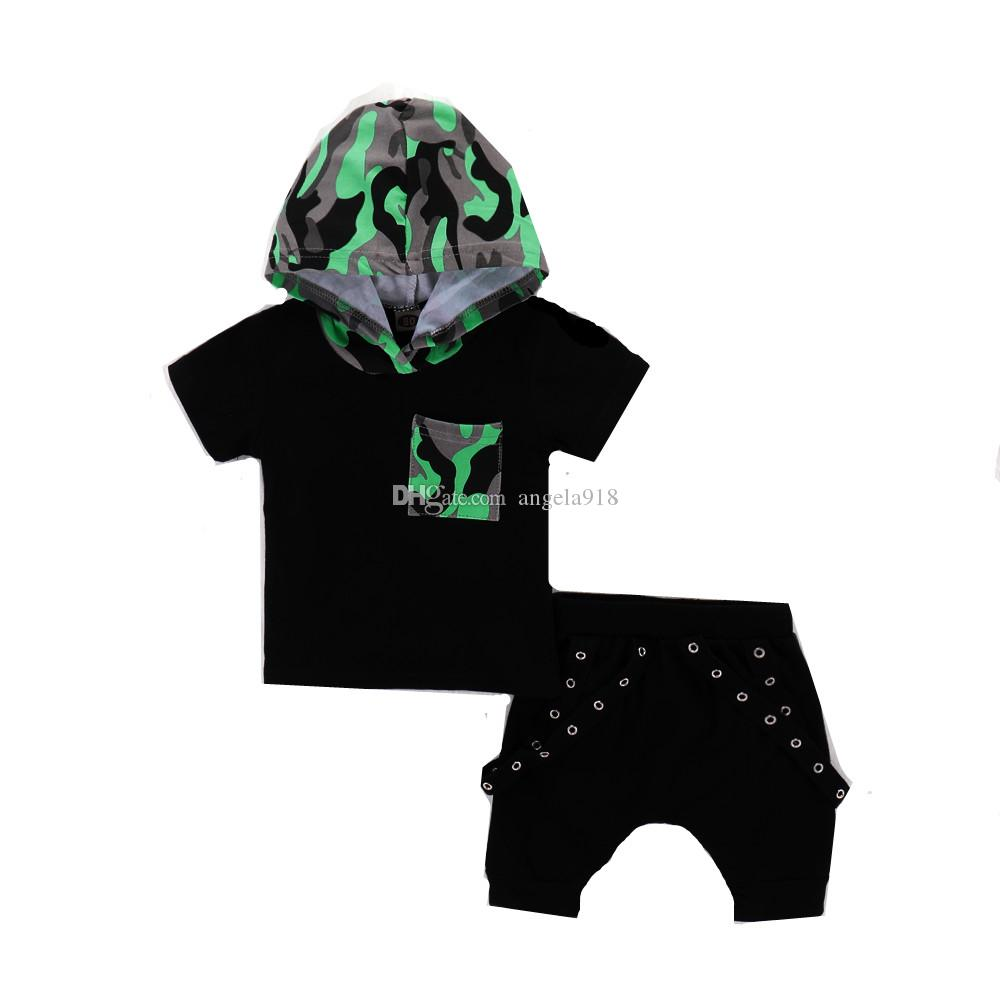 Ins boy suit military green camouflage hooded black short-sleeved shirt Harlan sports pants two-piece H044