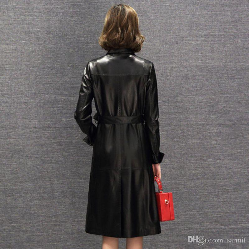 Real Sheepskin Women Long Leather Coat Jacket Exquisite Top Quality with Waist Belt F490 Black Elegant Leather Trench Coat