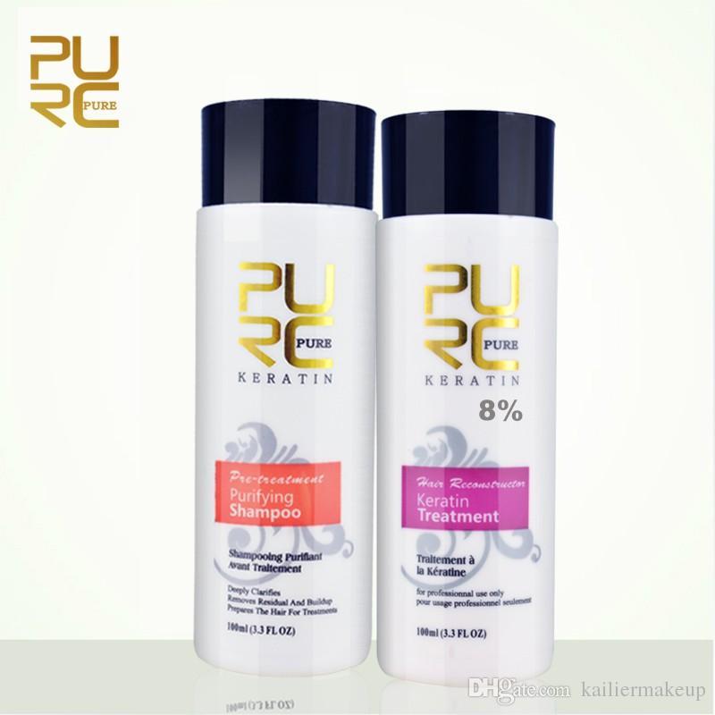 PURC Straightening hair Repair and straighten damage hair products Brazilian keratin treatment + purifying shampoo PURE