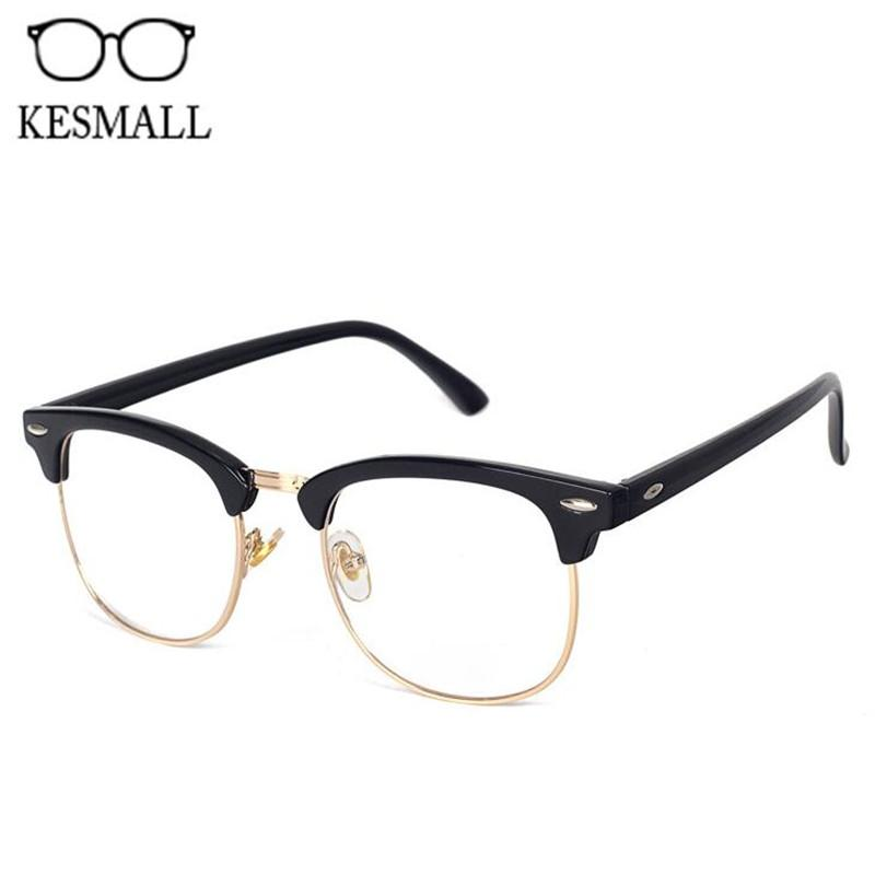 7b601df90ad27 KESMALL Optical Glasses Spectacle Frame For Men Women Half Rim Eyeglasses  Frames With Clear Lens Retro Male Eyewear 7758F
