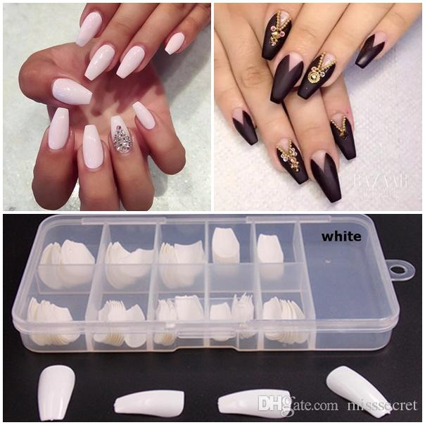 Box New Acrylic Nails French Fake Nails Nail Tips Full Nails ...