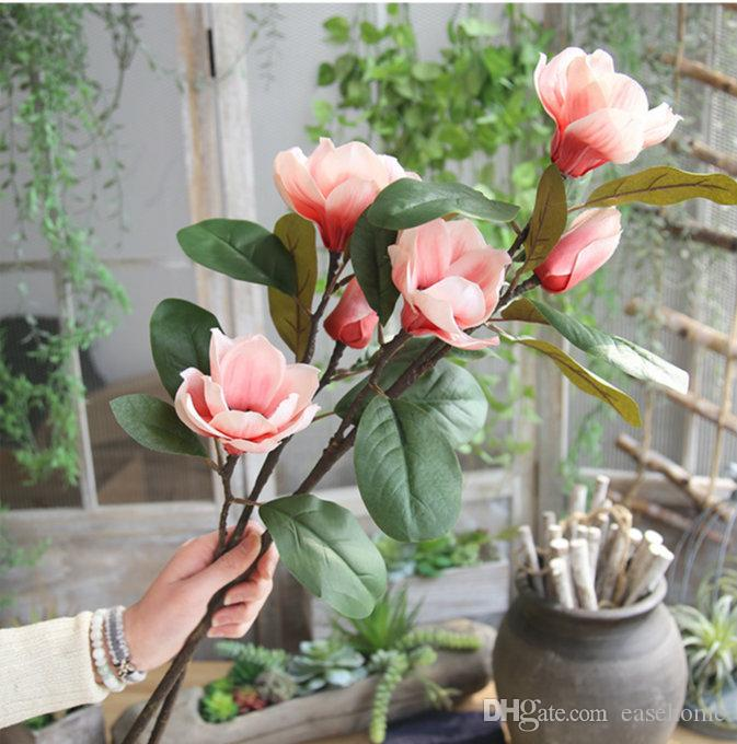 2018 Nuevo lanzamiento de flor de seda Magnolia para la decoración casera Flor Artificail de la boda Magnolia viva y delicada para la decoración casera