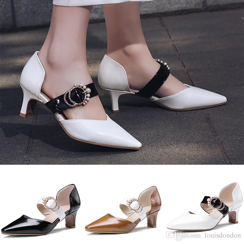 b34d85788cd Women S Mary Jane Sandals Kitten Heels Pumps Pointed Toe Buckle Patent  Leather Summer Office Party Dress Shoes Canada 2019 From Louisdondon