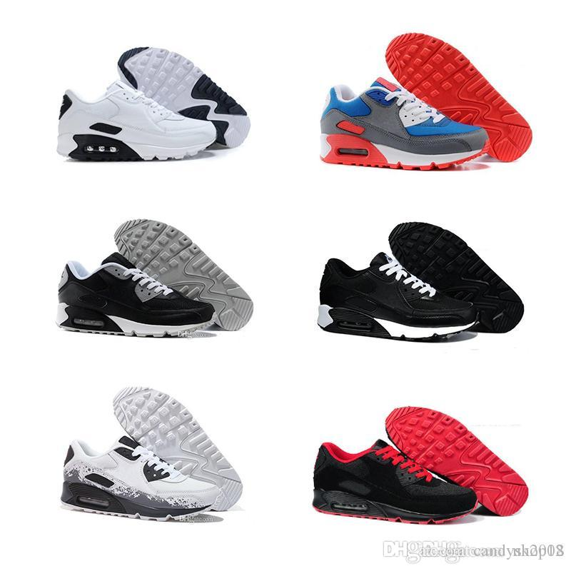 the best attitude b933c 56e9d Acheter Nike Air Max Hommes Sneakers Chaussures Classiques 90 Hommes Et  Femmes Chaussures De Course Noir Rouge Blanc Sports Entraîneur Air Coussin  Surface ...
