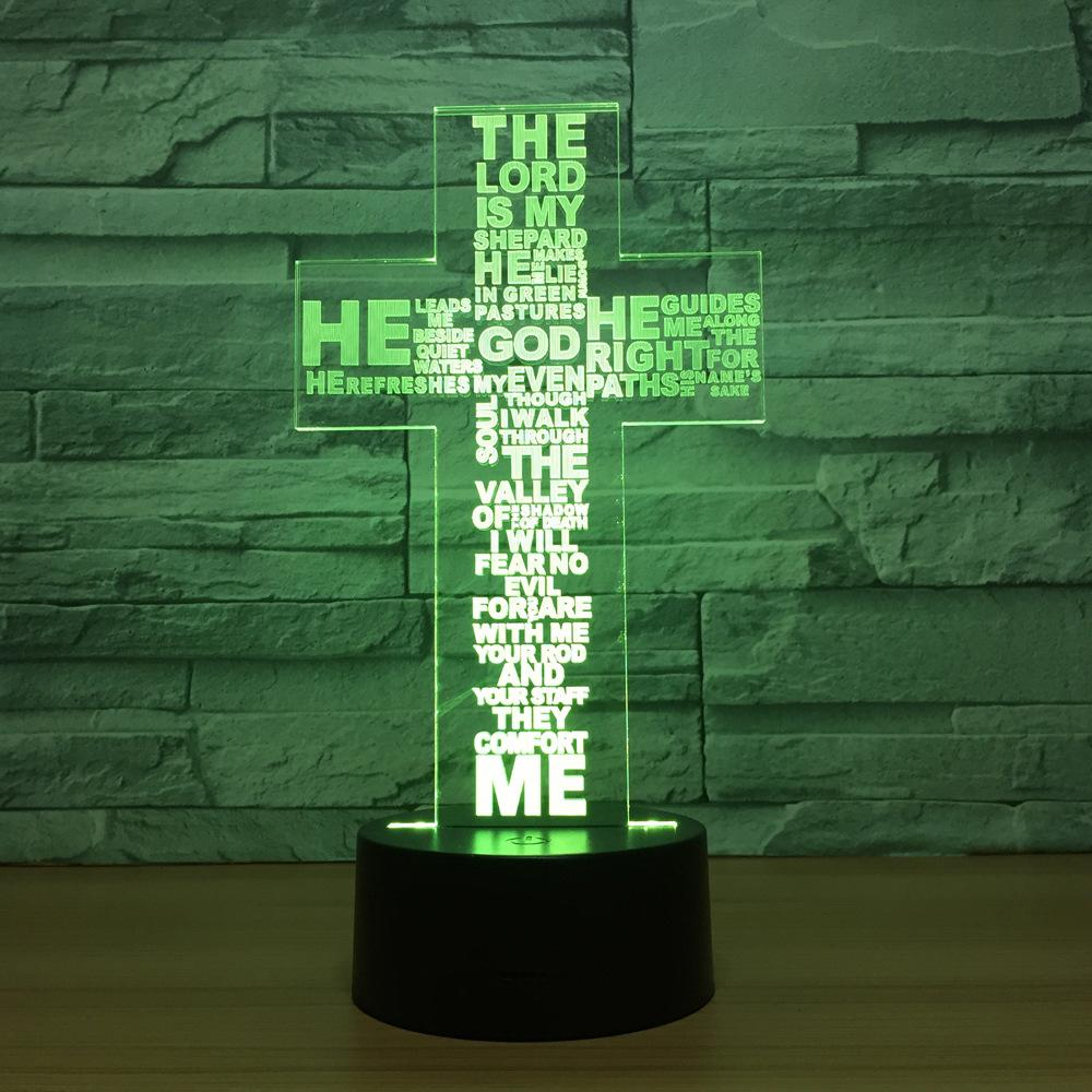 2019 Christ Jesus Cross 3d Night Light Change Led Lamp Desk Table