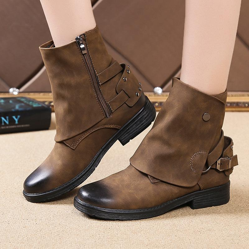 662d9598c7e7 Women S Boots Autumn Winter Low Heels Pu Leather Ladies Shoes Punk Vintage  Martin Boots Botas Mujer Plus Size Chaussures Femme Black Ankle Boots Wedge  Shoes ...