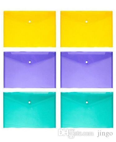 Pasta De Arquivo A4 Transparente De Plástico Saco De Documento Hasp Button Armazenamento De Artigos De Papelaria De Arquivo Saco De Arquivo De Armazenamento Classificados Suprimentos 1 lote = = 1 cor