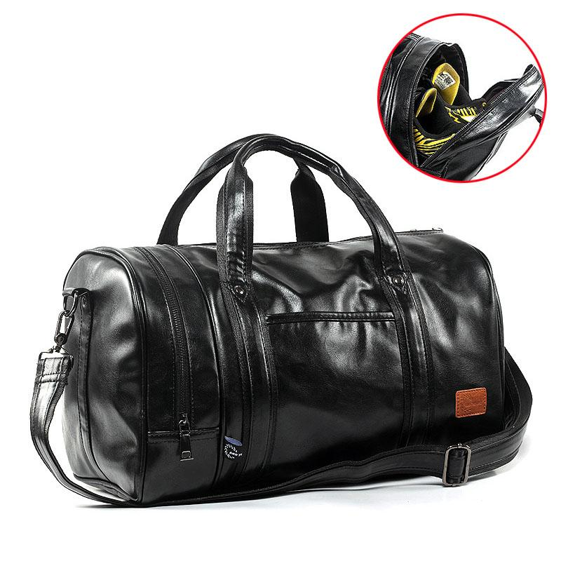 5a48d0c5df4f 2019 GYKZ Men Leather Travel Duffle Bag Women Sport Gym Handbags Large  Capacity Fitness Shoulder Bag Independent Shoes Pocket HY267 From  Litchiguo