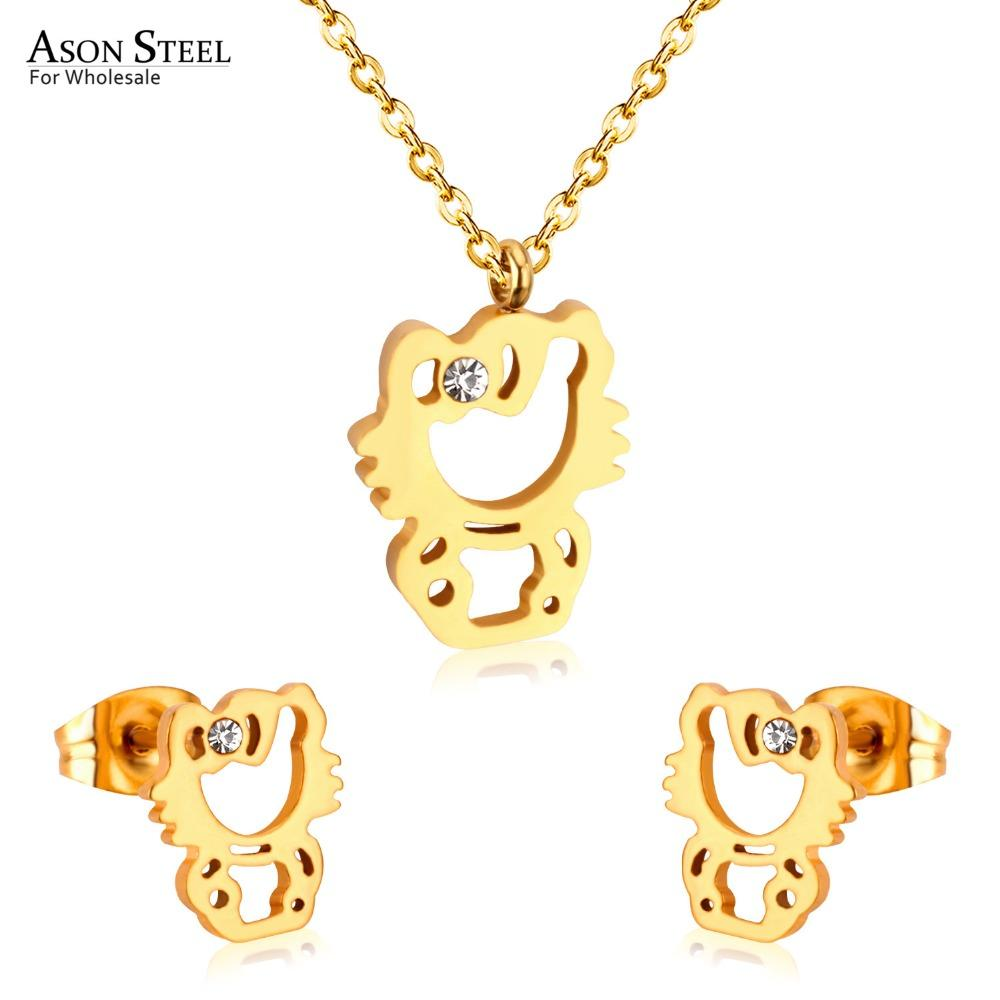 84f98cc27 2019 ASONSTEEL Hot Stainless Steel Gold/Silver Hello Kitty Pendants Necklaces  Earring Sets For Women/Girl Jewelry Gift Cute Fashion From Qiuyeluo, ...