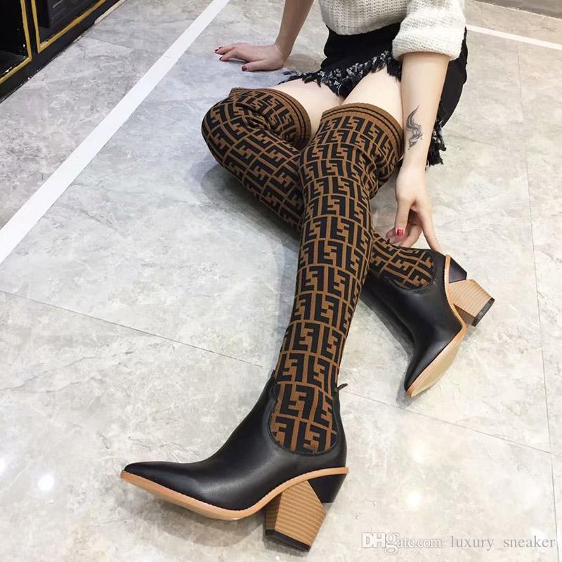 32279d278 Women Designer Luxury Brand Pointed Sock Boots Brown Black Leather Thigh  High Boots For New Womens Italy Knee Fashion Boot With Box Wedge Booties  Boots Sale ...