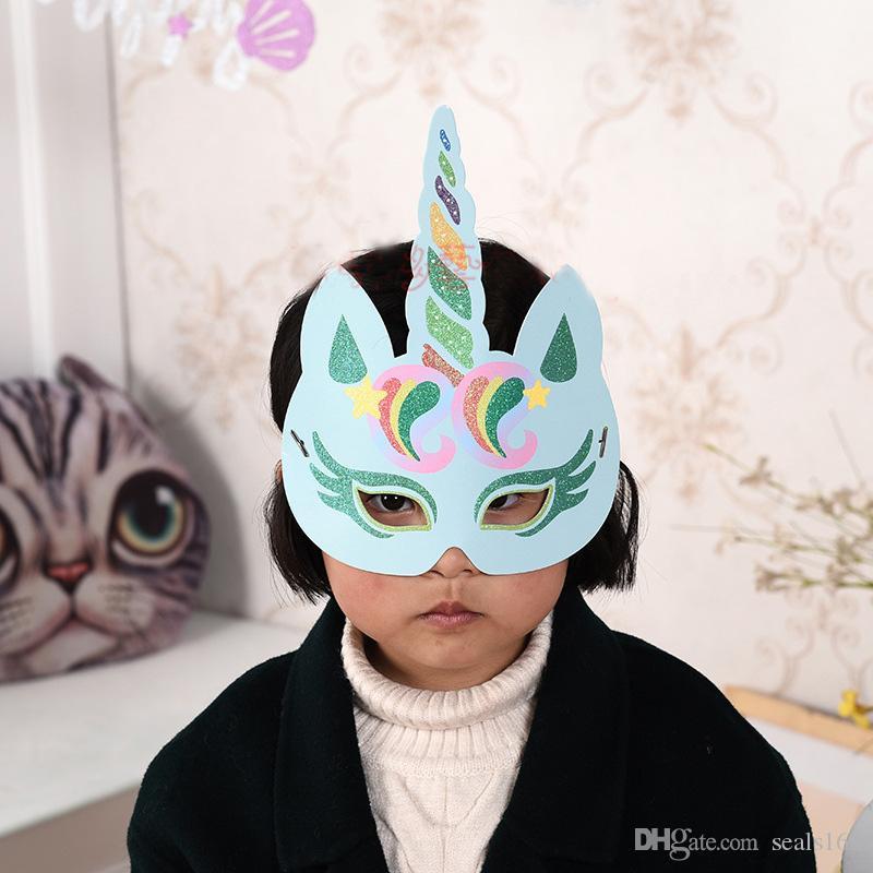 Mode Glitter Einhorn Papier Maske Kinder Erwachsene Party Geburtstag Hut Cosplay Kostüm Charakter Zubehör Geschenke HH7-477