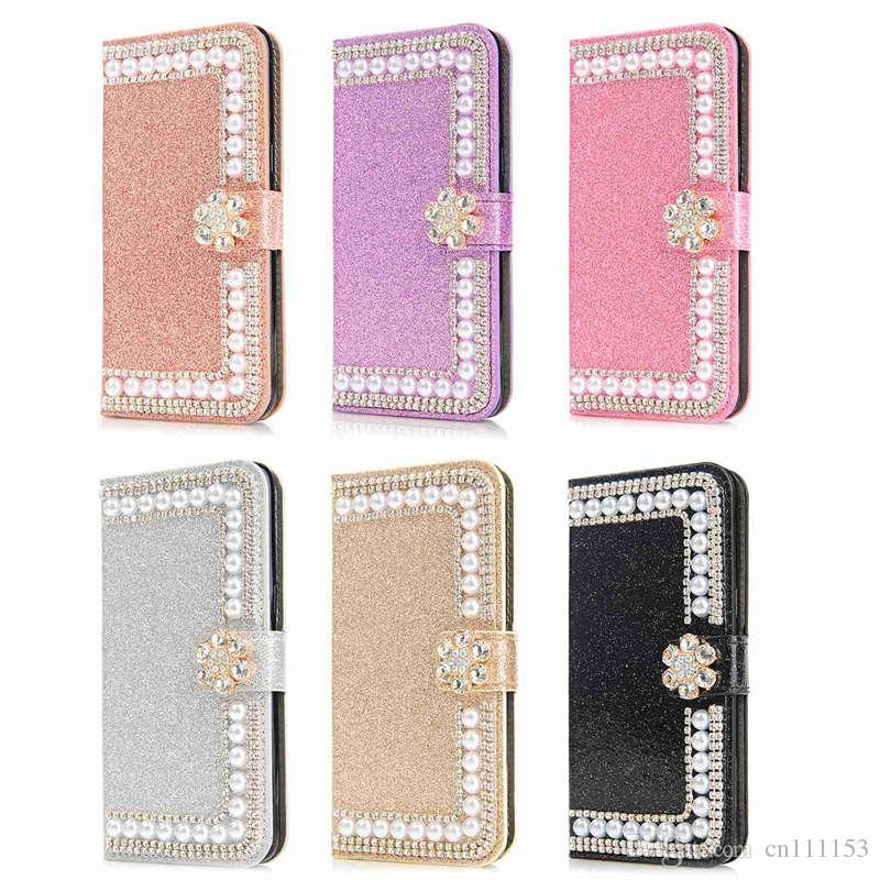 Wholesale Rhinestone Case For Huawei P20 Pro P20 Lite P20 Mate10 Pro P10 Lite P10 Glitter Shine Pearl Wallet Case for CellPhone