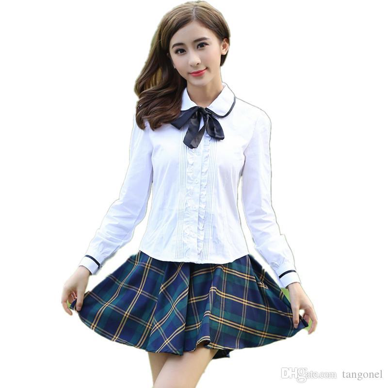 e2fe87ef12cf9 Compre Uniforme De Niña De Escuela Japonesa Falda De Uniforme De Colegio De  Estudiante Coreano Mujeres Camisa De Encaje De Algodón Blanco + Falda  Plisada De ...