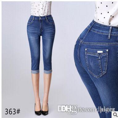 a2ed9775019 2019 Wholesale Denim Capri Skinny Jeans Woman Stretch High Waist Jeans  Short Denim Pants For Women Summer Pants Plus Size 27 38 From Kktie