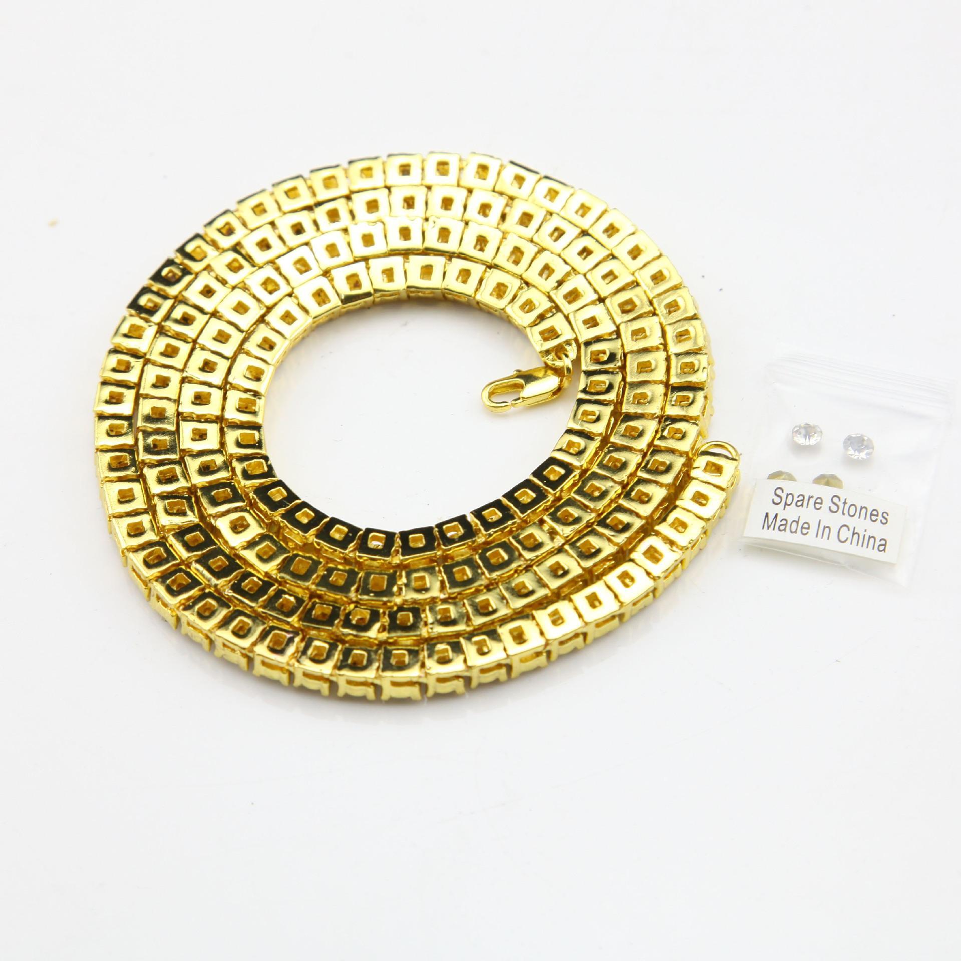 Altın Zincir Hip Hop Sıra Simüle Elmas Hip Hop Takı Kolye Zinciri 18-20-24-30 inç Erkek Altın Ton Buzlu Out Zincirler Kolye