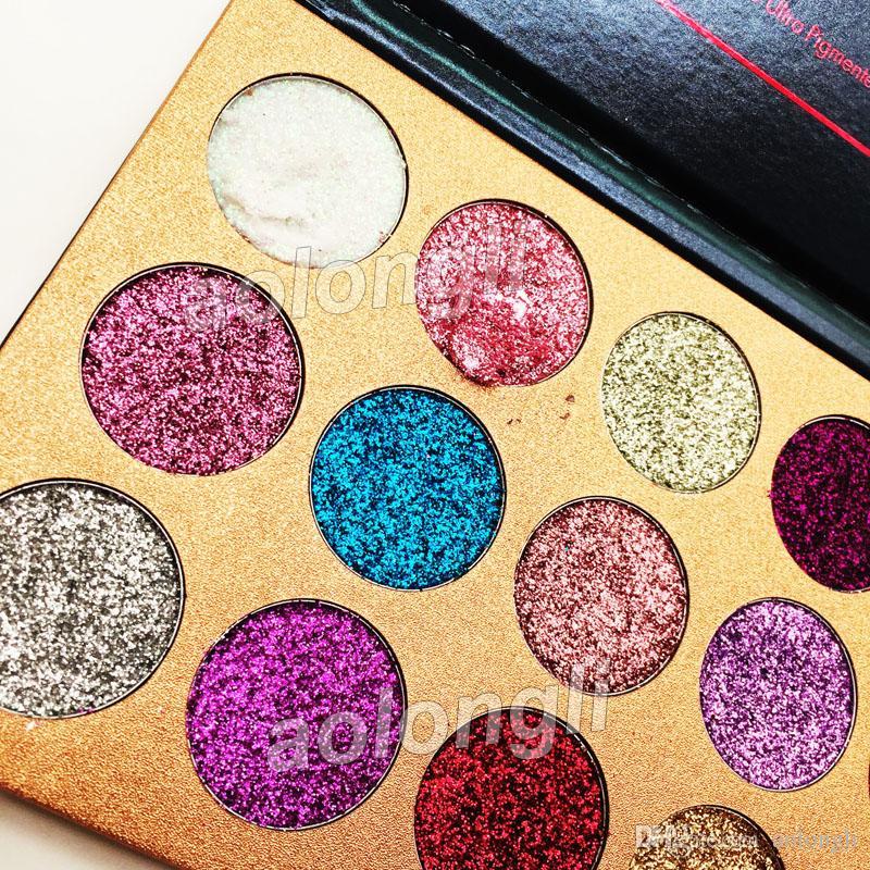 Beste Schönheit glasiert Glitter Lidschatten-Palette 15 Farben Lidschatten-Palette Makeup Ultra Shimmer Face Cosmetics versandkostenfrei