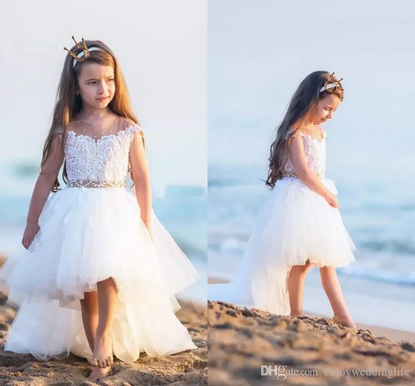 ea30337c7 Lovely Ivory High Low Cute Flower Girl Dresses Cap Sleeves Lace Tulle  Little Girls First Communion Beach Boho Girls Wear For Beach Weddings Short  Dresses ...
