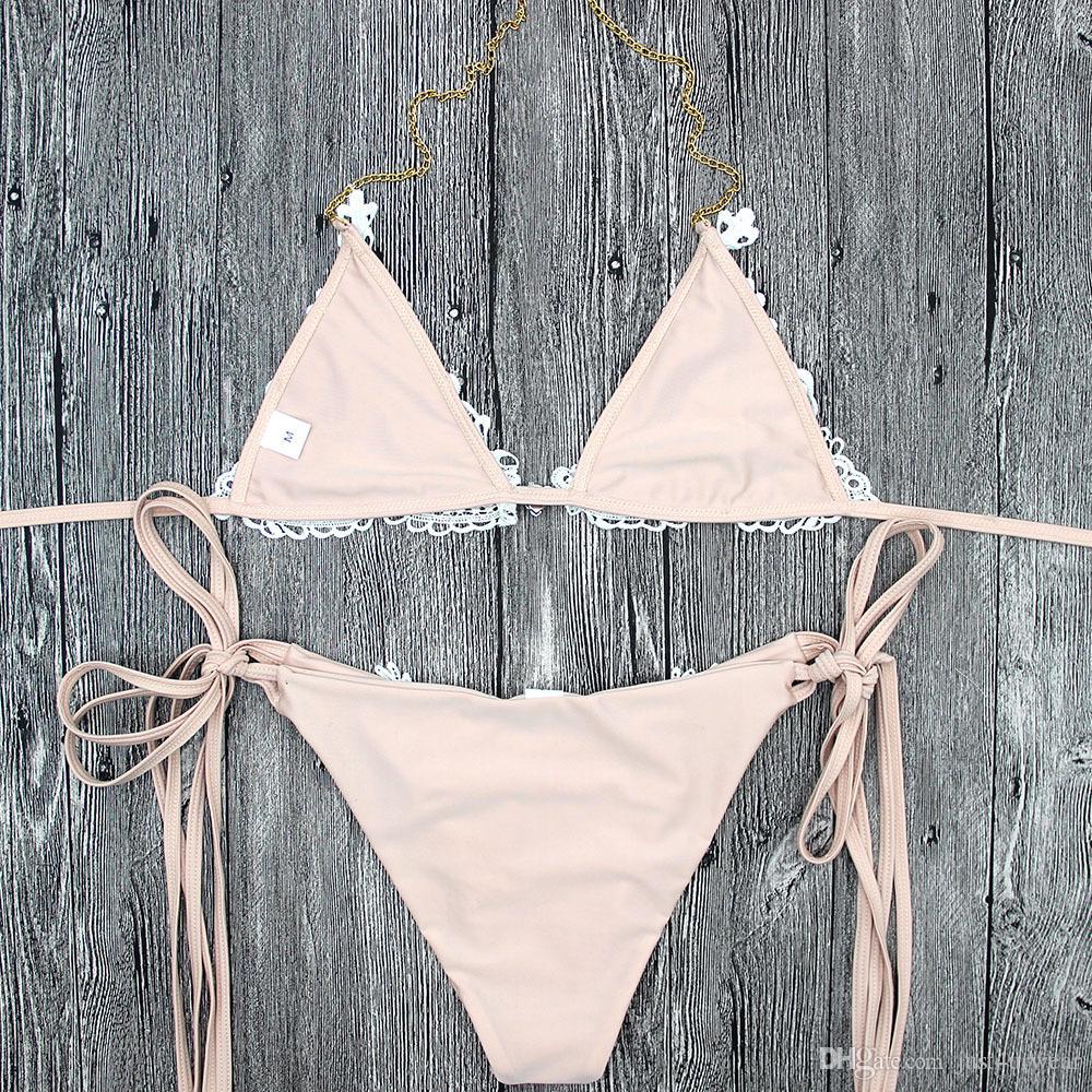 Femmes Dentelle Bikini Ensemble D'été Mode Élégant Mignon Doux Bikini Maillots De Bain Vêtements Maillot De Bain