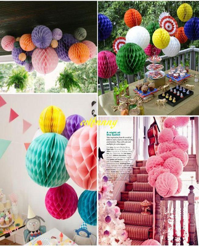 / 15 cm 20 cm 25 cm 30 cm 35 cm fleurs en papier de soie boules nid d'abeilles pour la décoration de fête de mariage
