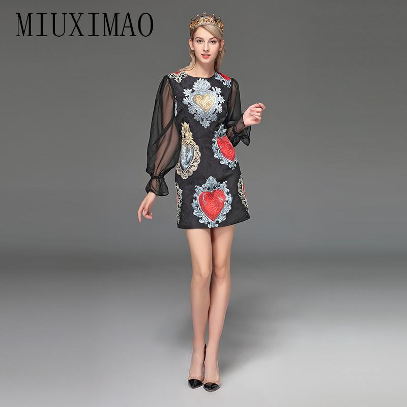 3109c370d5d6 MIUXIMAO 2019 Runway Designer Dress Women's Elegant Casual And Lantern  Sleeve PatchworkPrinted Vintage Short Dress vestido