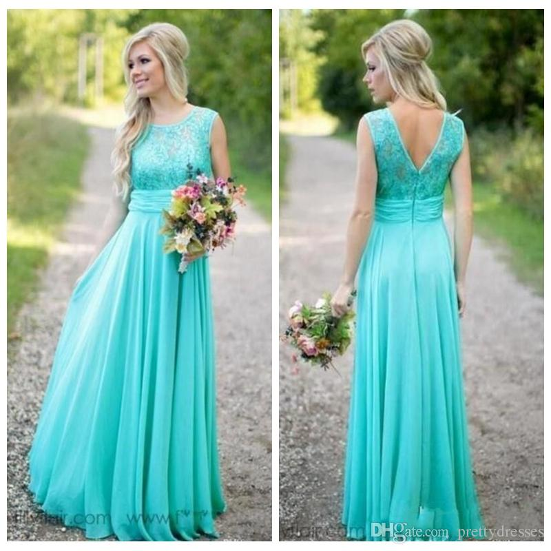 2018 Lace Top Long Turquoise Bridesmaid Dresses A Line Sheer Jewel Neck Sleeveless Long Maid of Honor Gowns Plus Size Custom Vestidos