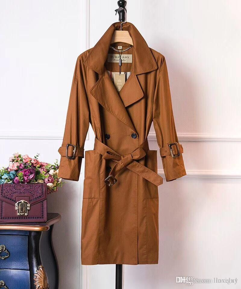 f07cac6174b6 Ms. Hot Solid Trench Coat Long-sleeved Shoulder Lace Badamian Cotton ...