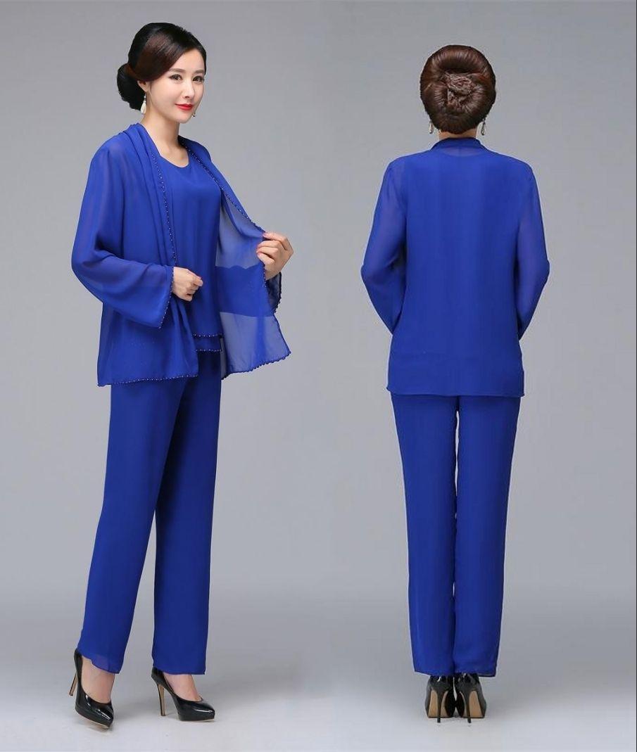 Acheter Bleu Royal Perlé Mère De La Mariée Pantalon Costumes Avec Veste En  Mousseline De Soie Boho Mothers Tenue Vêtement Formel Pas Cher Mariage  Invité ... 85b8f46876ea