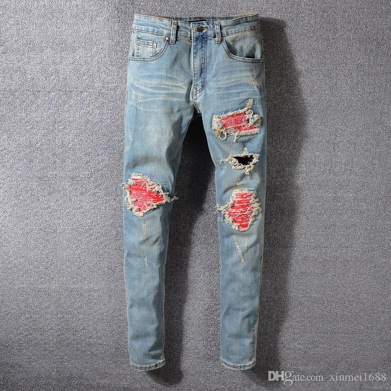 Hot Jeans Herren Straight Ripped Löcher Denim Bike Jeans Fashion Designer Hosen Schlanke Reißverschlüsse Hosen Denim Hosen Größe 28 40