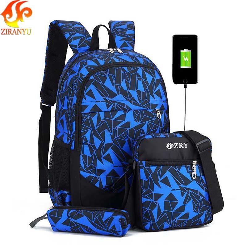 ZIRANYU Male Backpack For Teenagers Boy School Bags Children Waterproof  Oxford USB Charge Design Bag Boy Backpack Schoolbag Y18110107 Best School  Backpacks ... 7c36217336609