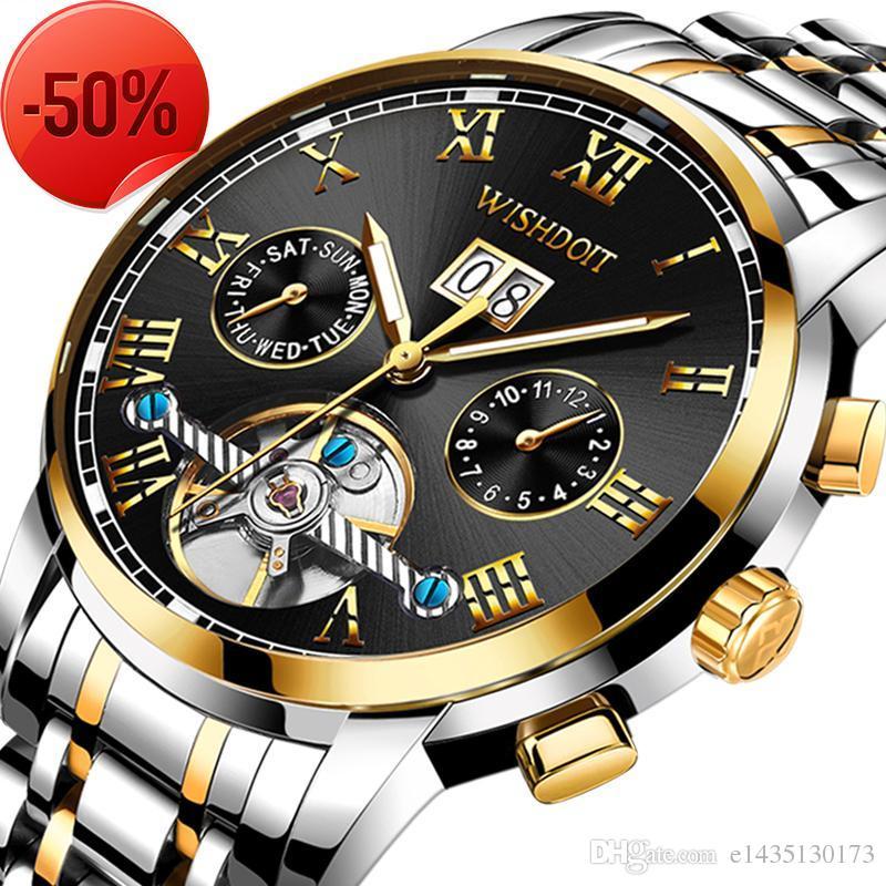 75a42ea1bd30 Compre Wishdoit Relojes Para Hombres Top Marcas De Lujo Para Hombres De Negocios  Reloj Mecánico De Acero Relogio Masculino Reloj Impermeable Relojes Hombre  ...