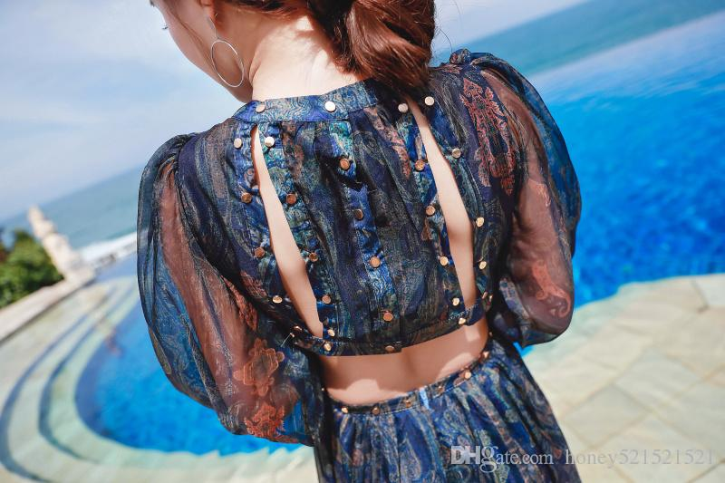 New design fashion women's sexy v-neck waist hollow out ethnic nation print floral retro beach vacation long sleeve chiffon long dress