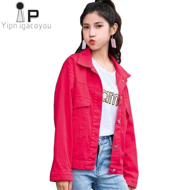 Denim Denim Manteau Plus Automne Acheter Acheter Rose Jeans Femmes Veste Rouge q4wEz