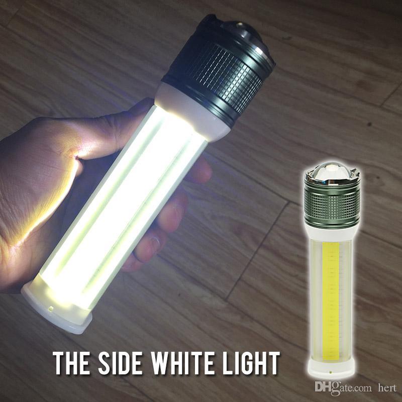 Çok fonksiyonlu fener T6 + COB dört modları lanterna Zumlanabilir şarjlı Lityum Pil telefon şarj için taşınabilir güç Torchlight için Kamp