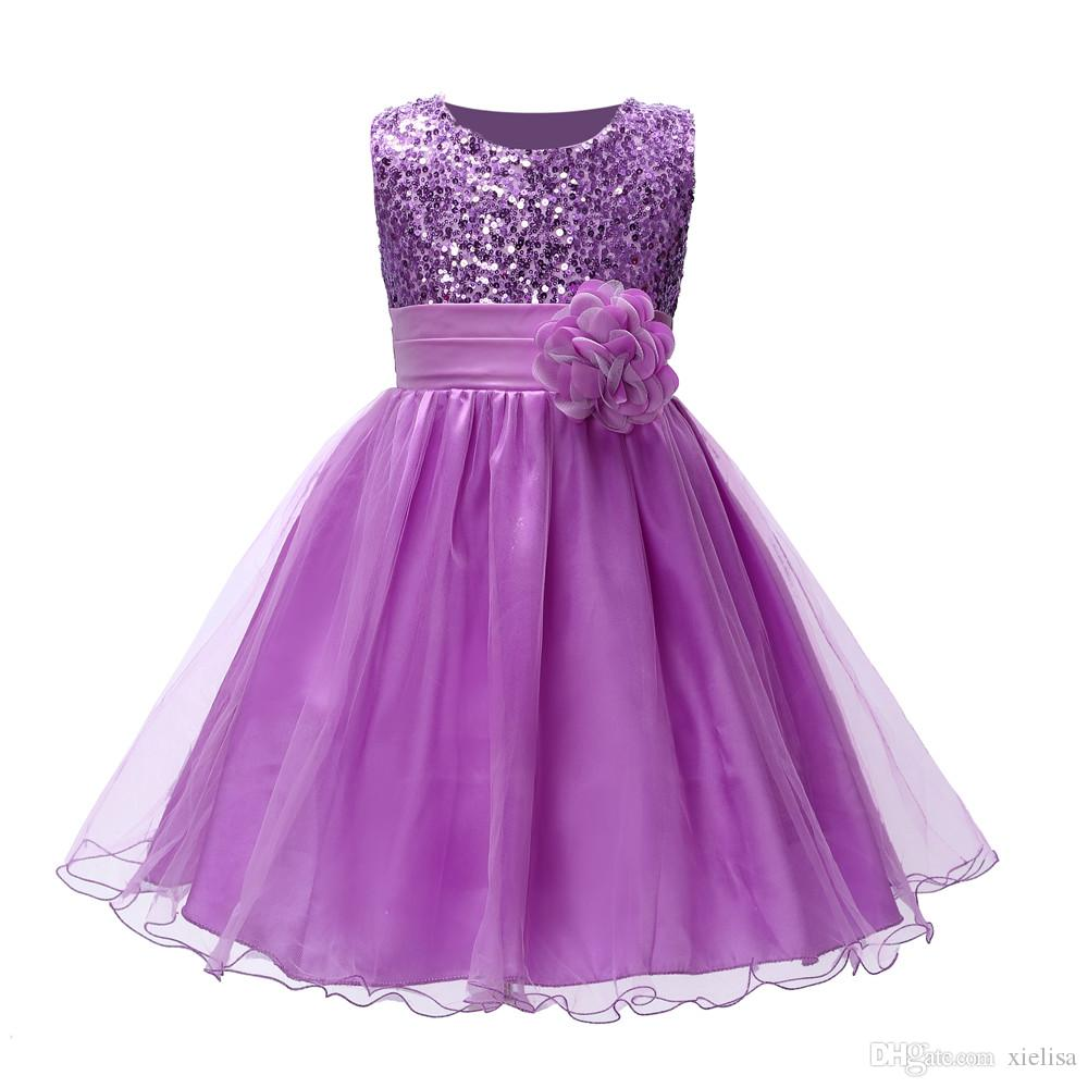 flower girl with a rose well birthday party wedding princess dress for sleeveless children girl vest dress