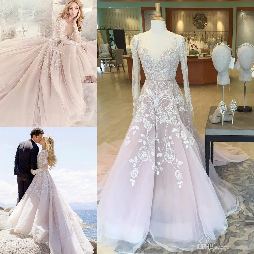 Discount Blush Pink Beach Wedding Dresses Long Illusion Sleeves - Blush Beach Wedding Dress