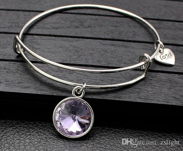 ed Birthdaystone crystal pendant bangle charm expandable wire bracelet for women gifts