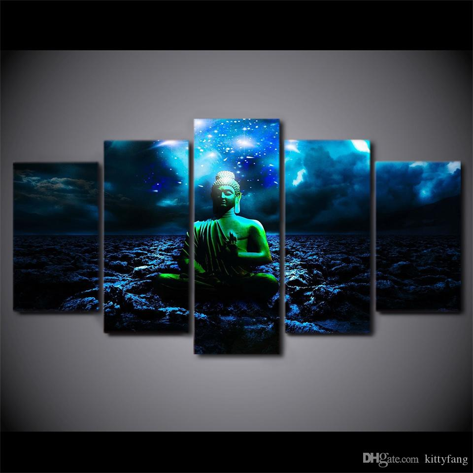 Framed HD Printed Buddhist Night Buddha Still Life Canvas Painting Wall Art Picture Home Decor For Linving Room