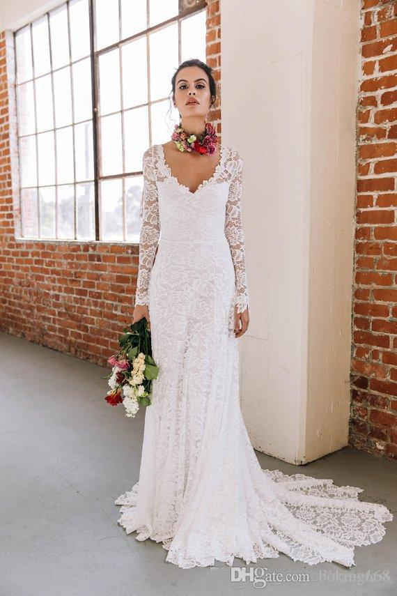 Discount 2019 Lace A Line Boho Wedding Dresses With Long Sleeves V Neck Sexy  Low Back Informal Bohemian Beach Wedding Gown Custom Made. c48abcb40e78