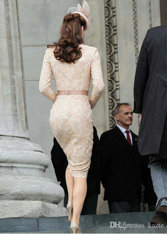 Kate Middleton Champagne Evening Dresses for Women Wear with Elegant Knee Length Lace Long Sleeve Celebrity Cocktail Formal prom Gowns 2018